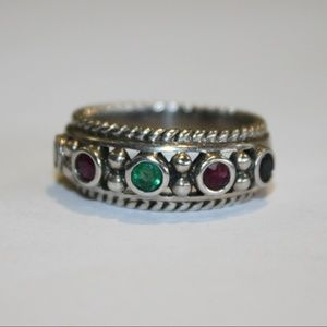 Jewelry - Stunning ruby, sapphire and emerald ring .925